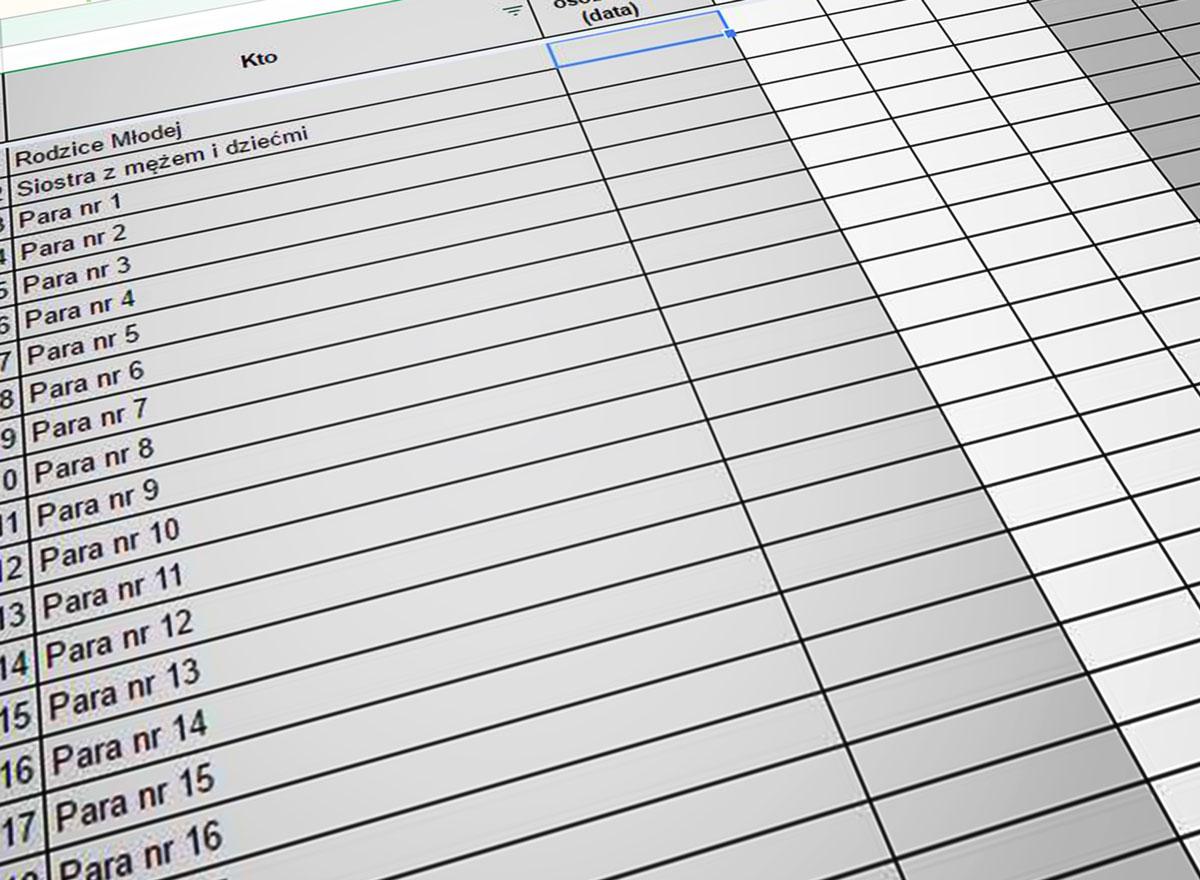 Tabelka z listą gości i obliczeniami kosztów